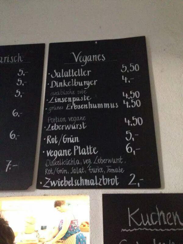"""Vegane Speisekarte des Bierkellers """"Fellsenkeller"""" in Roßdorf am Walde."""